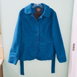 L.L. Bean Blue Coat Button Up Jacket with Tie